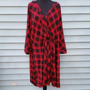 Black and red flannel print empire waist dress